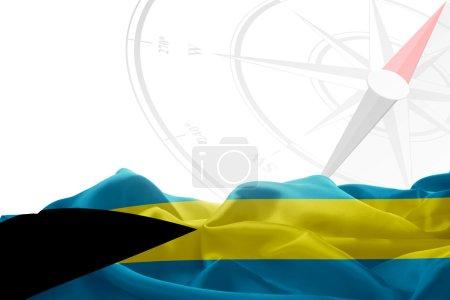 Bahamas flag and compass
