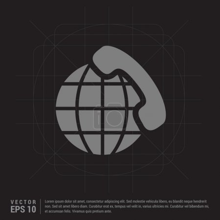 World globe with phone receiver icon