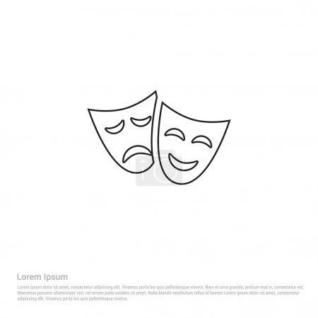 Illustration for Theater masks icon. vector illustration - Royalty Free Image