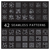 Beautiful geometric seamless patterns set black and white vector backgrounds collection