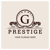 Letter G logo  prestige brown symbol floral emblem