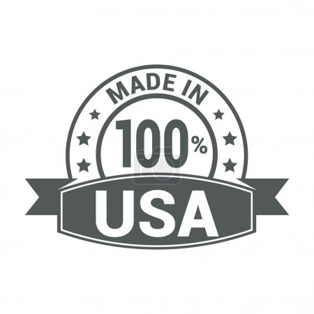 Made in USA . Round gray rubber stamp design isola...