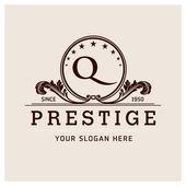 Letter Q logo  prestige brown symbol floral emblem