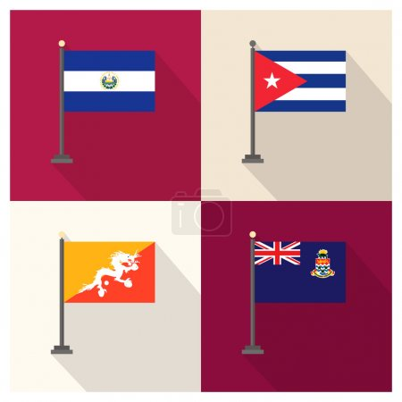 The flat design of the 4 country flags