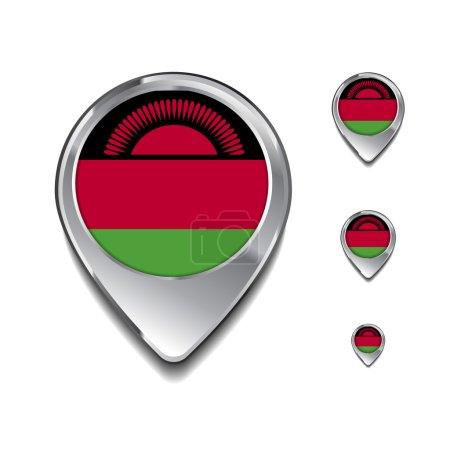 Malawi épingles de carte drapeau