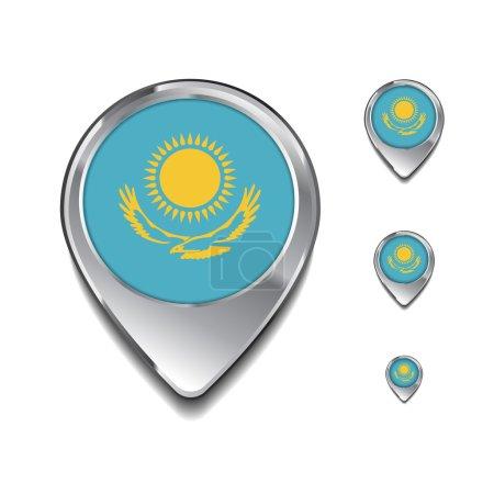 Kazakhstan épingles de carte drapeau