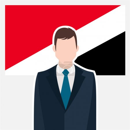 Businessman character standing in front of Flag