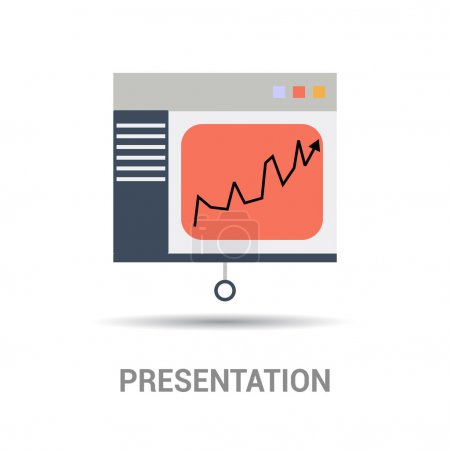 Illustration for Presentation board icon, vector illustration, Presentation text - Royalty Free Image