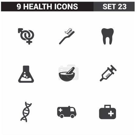 Illustration for 9 application Medical icons set. Flat Icon Design - Royalty Free Image