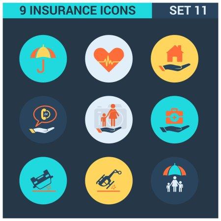 9 application Insurance Icons set. Flat Icon Desig...