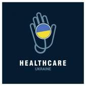 Ukraine National flag on stethoscope
