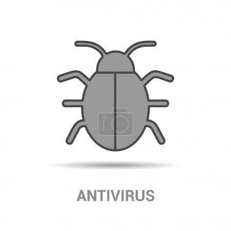 Illustration for Flat icon of graphical symbol of bug (beetle) as malicious software or coding errors. Vector illustration - Royalty Free Image
