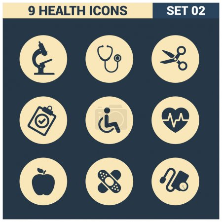 Illustration for Abstract vector collection Medical icons set. Design elements for mobile and web applications - Royalty Free Image