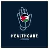 Jordan National flag on stethoscope - Health care logo - Medical Logo - Hospital Clinic Logo - Helping Hand Logo Vector illustration