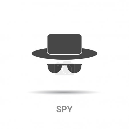 Spy in hat and sunglasses icon