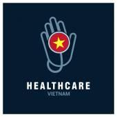 Vietnam National flag on stethoscope - Health care logo - Medical Logo - Hospital Clinic Logo - Helping Hand Logo Vector illustration