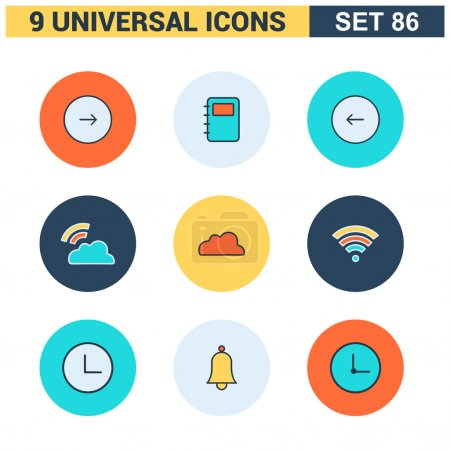 Abstract collection of colorful flat Universal Icons set. Big package of modern minimalist, thin line icons. Design elements for mobile and web applications.