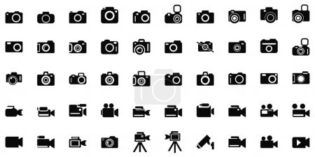set of photo and video cameras icons