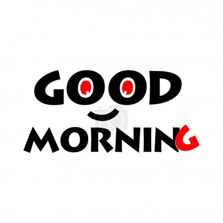Illustration for Cute text with smile effect for good morning greeting cards - Royalty Free Image