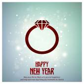 Glowing snow Background with diamond ring icon Happy New year typography Greeting poster template vector illustration