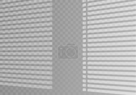 Illustration pour Effet d'ombre superposé. Fenêtre transparente superposée et stores ombre. Effet de lumière réaliste des ombres et de la lumière naturelle sur un fond transparent. Illustration vectorielle - image libre de droit