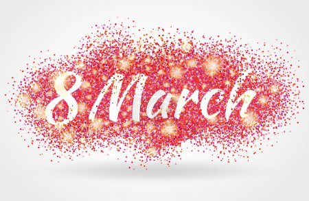 eight 8 march womens day pink glitter background