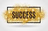 Success gold glitter on white background
