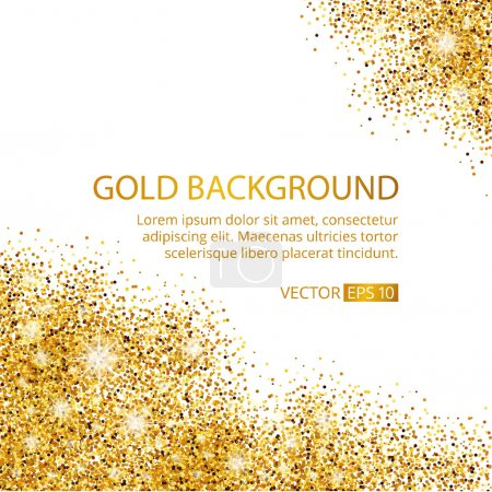 Illustration for Gold sparkles corner on white background. Gold glitter background. Gold text for card, vip exclusive, certificate gift, luxury, privilege voucher. Store, present, shopping. - Royalty Free Image