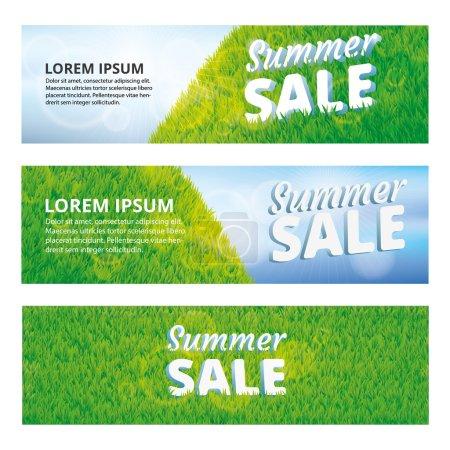 Green grass summer sale banner