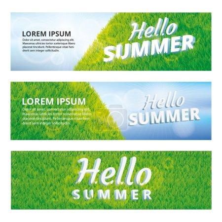 Green grass hello summer banner