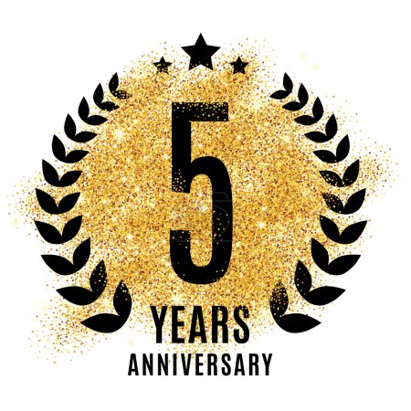 Five years golden anniversary sign
