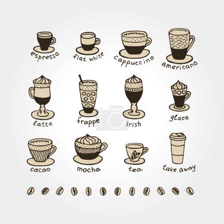 Illustration pour Types de café. Icône et logo design pour café. Cappuccino, moka, café, espresso, café, americano, irlandais, frappe, chocolat, thé, à emporter, glace. Menu café . - image libre de droit