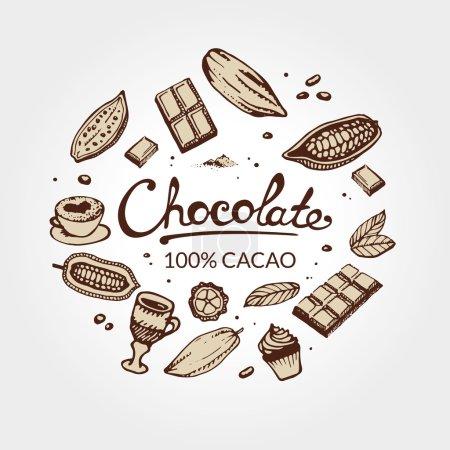 Illustration pour Modèle de dessin à la main de fèves de cacao, chocolat, gâteau, tasse de chocolat chaud, tasse, latte. Pour la conception de menu et de boîte : horeca, café, bar, restaurant, cuisine, boulangerie . - image libre de droit
