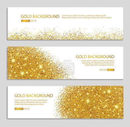 Gold sparkles white background, banners. Gold bann...