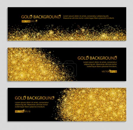 Illustration for Gold sparkles on black background, banners. Gold banner. Gold background. Gold club banner with text. Banners, logo, web,  card, vip, exclusive, gift, luxury, privilege, voucher, store, present, sale. - Royalty Free Image