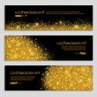 Gold sparkles on black background, banners. Gold b...