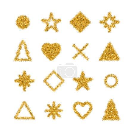 Golden shapes glitter background