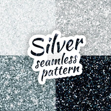 Silver sparkles texture, with shine and glossy con...