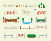 Horse jumping obstacle arena