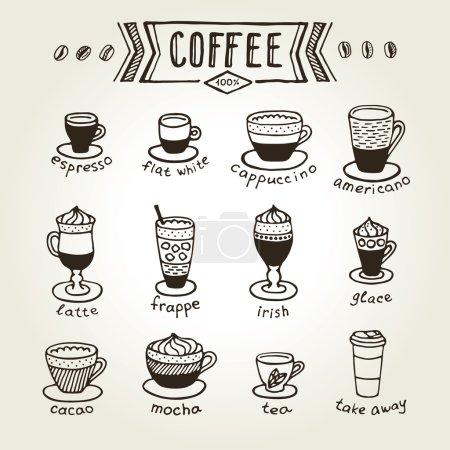 Illustration pour Menu icône café et thé - image libre de droit