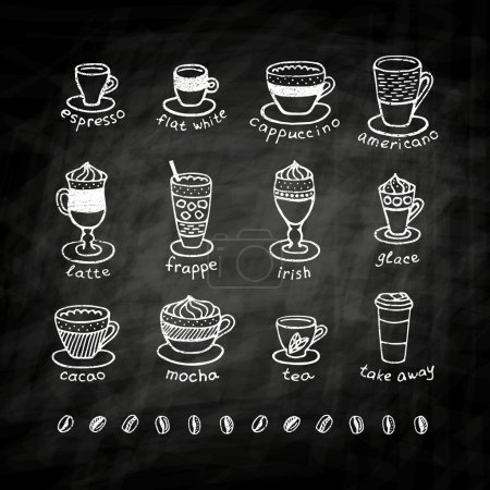 Illustration pour Types de café, craie sur tableau noir. Icône et logo design pour café. Cappuccino, moka, café, espresso, café, americano, irlandais, frappe, chocolat, thé, à emporter, glace. Menu café . - image libre de droit