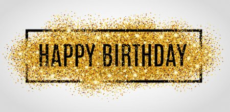 Illustration for Gold sparkles background Happy Birthday - Royalty Free Image