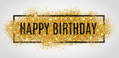 Gold sparkles background Happy Birthday