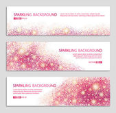 Pink and red banner with glitter background