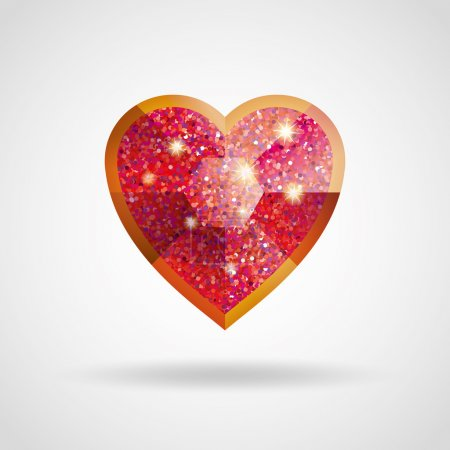 Love red and gold heart glitter ruby