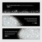 Silver sparkles on white backround banners Silver banner  banner with text Banners logo web card vip certificate gift luxury privilege voucher store present shopping sale header