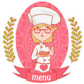Cute girl chef cook with the piemenu background pattern of branches with leaves on the sides logo vector pink