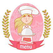 Cute girl chef cook with dish on the traymenu background pattern of branches with leaves on the sides logo vector pink