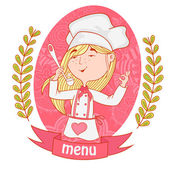 Cute girl chef cook with a ladle menu background pattern of branches with leaves on the sides logo vector pink