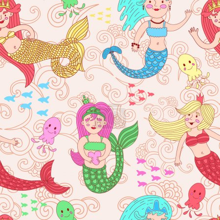 vector seamless pattern with cute colorful mermaids.
